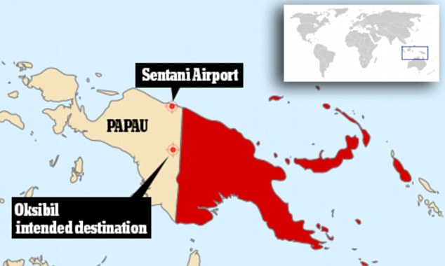 Search area: The plane took off from Sentani airport in the region's capital Jayapura on a flight to Oksibil, located south of the city, but failed to arrive at its destination