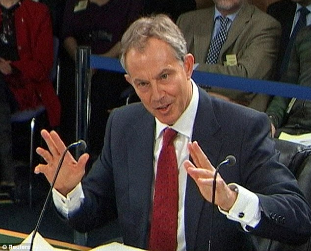 Relatives desperate to learn the truth about why Tony Blair sent their sons and daughters to fight said they were 'appalled' the Iraq Inquiry chairman had apparently taken time off. Pictured is Mr Blair giving evidence at the Chilcot Inquiry