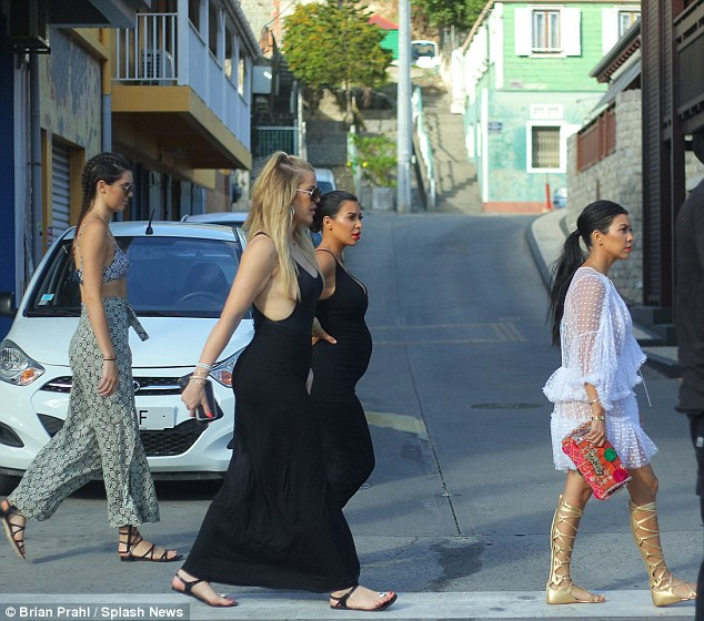 Lady lumps: The ladies showed off their curves in the clingy garments as they joined sisters Kourtney and Kendall