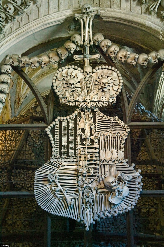 Known as the 'Skull Church,' the macabre building contains bodies that have been reassembled into decorative features