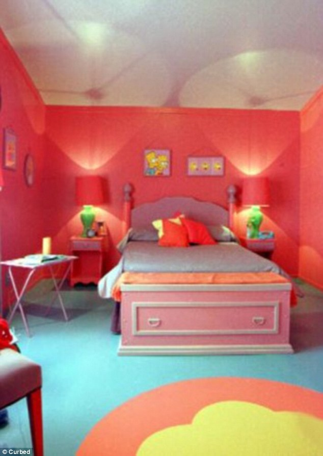 red curtains for living room pictures of design ideas calgary couple recreates the simpsons kitchen in their ...