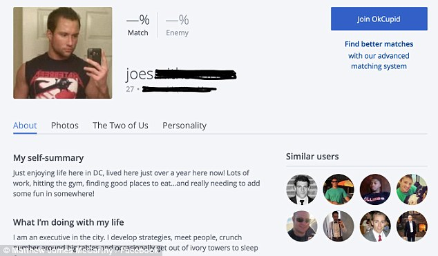 Fake profile: McCarthy's image was used for this OK Cupid profile, which has been linked to the email account Josh Duggar used for his Ashley Madison account