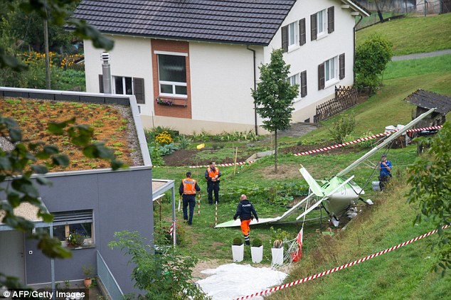 Lucky escape: The second pilot escaped by parachute and his plane crashed  on the edge of Dittingen village
