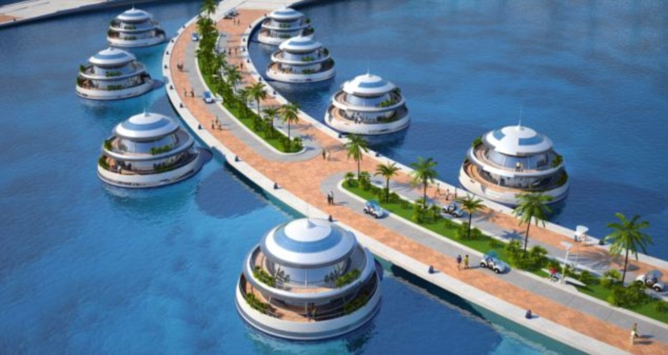 The 'jellyfish': Pods for guests will have four floors each and an underwater observatory and lounge area