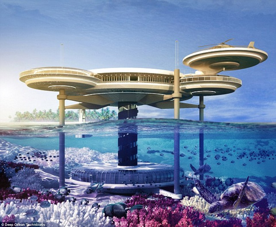 Plans: Designs for the Water Discus hotel, which is due to be built in Dubai