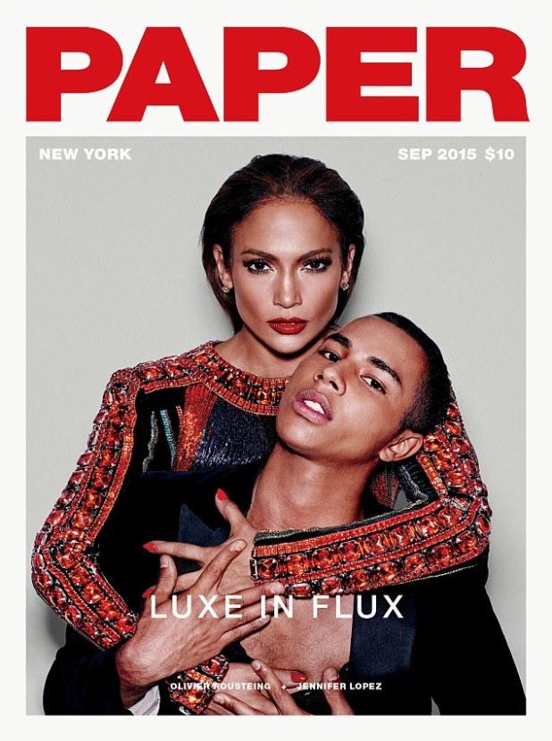 Strike a pose: Jennifer Lopez, 46, stars on the cover of this month's Paper magazine, alongside Balmain designer Oliver Rousteing