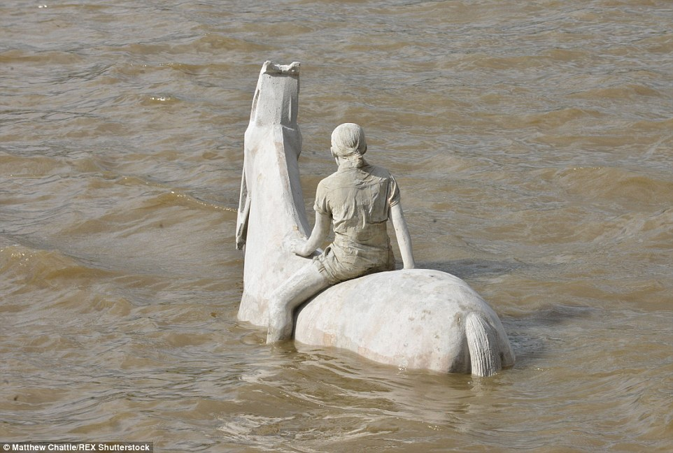 Time it right: The sculptures by Jason deCaires will only be visible at certain times of the day when the River Thames is at low tide