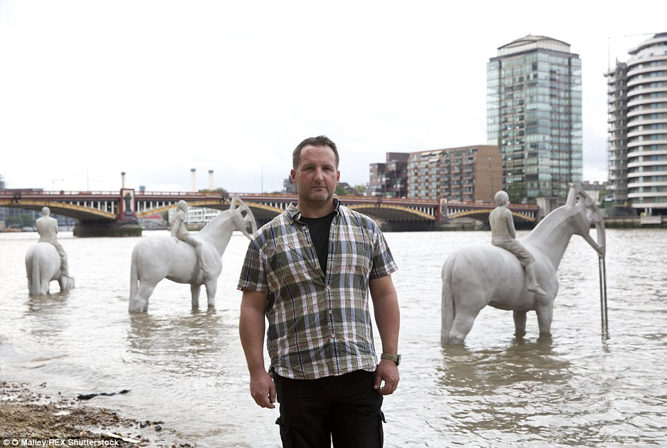 The sculptures were made by artist Jason deCaires Taylor (pictured) and installed on the foreshore at Nine Elms on the South Bank