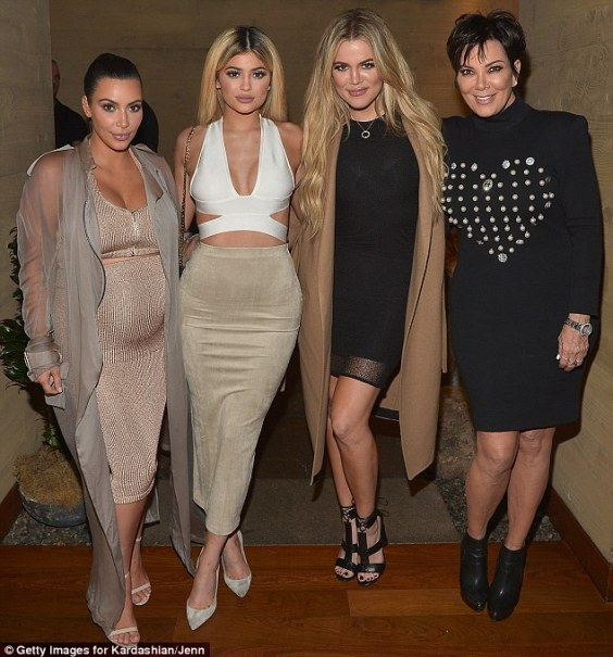 A family affair: (L-R) Kim Kardashian, Kylie Jenner, Khloe Kardashian and Kris Jenner hosted a dinner at Nobu in Malibu, California on Tuesday