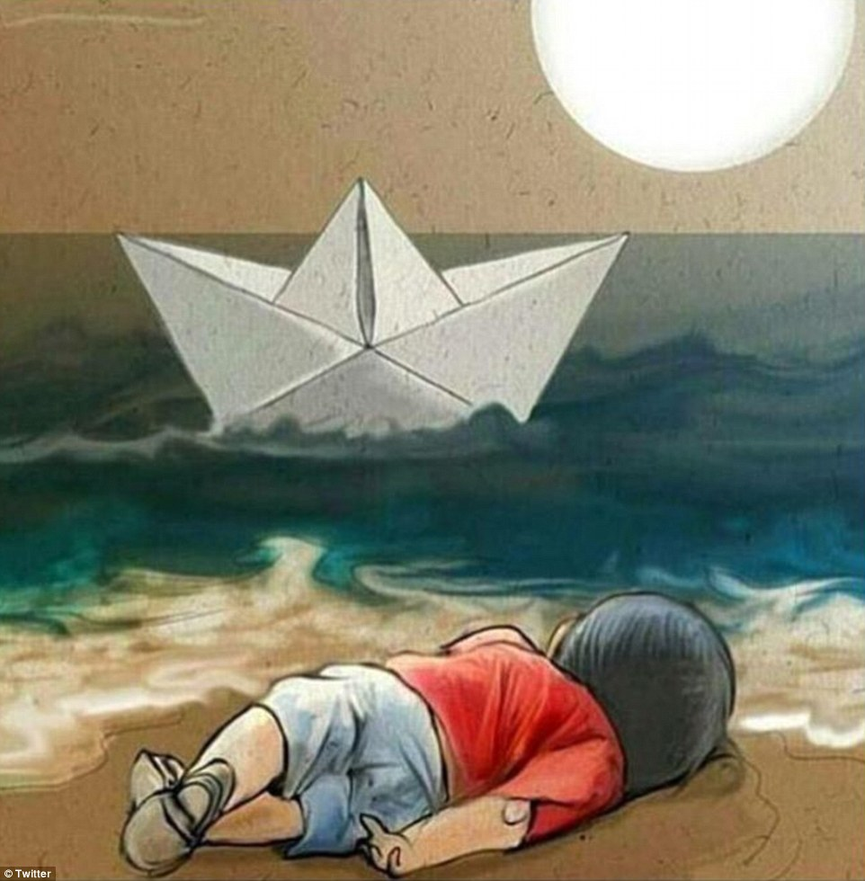 This moving artwork depictsAylan Kurdi lying dead on the beach as a paper boat travels off to sea
