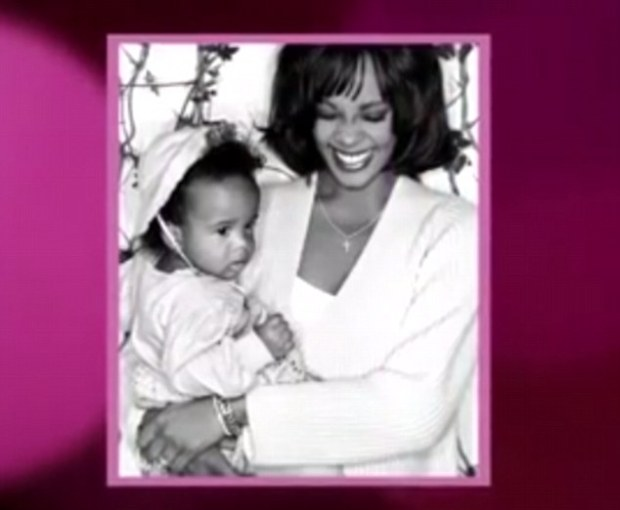 Mother and baby: This photo from the collage shows Bobbi Kristina resting in the arms of her smiling mother