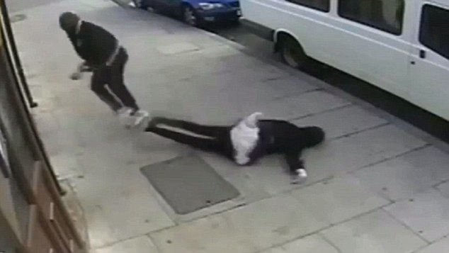 Brutal: The video showed Ayoade jogging away from the scene, leaving Miss Kabir unconscious on the ground
