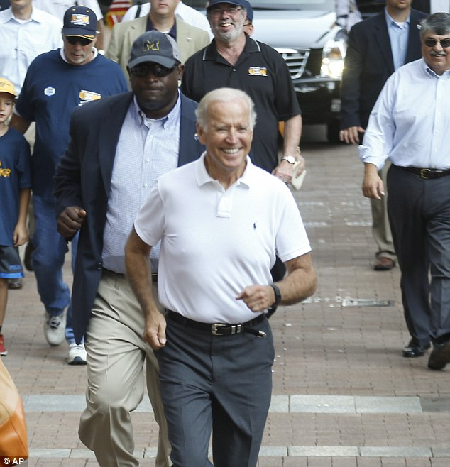 Biden was cagey about whether he would run for POTUS but he had no issue with jogging through the streets of Pittsburgh