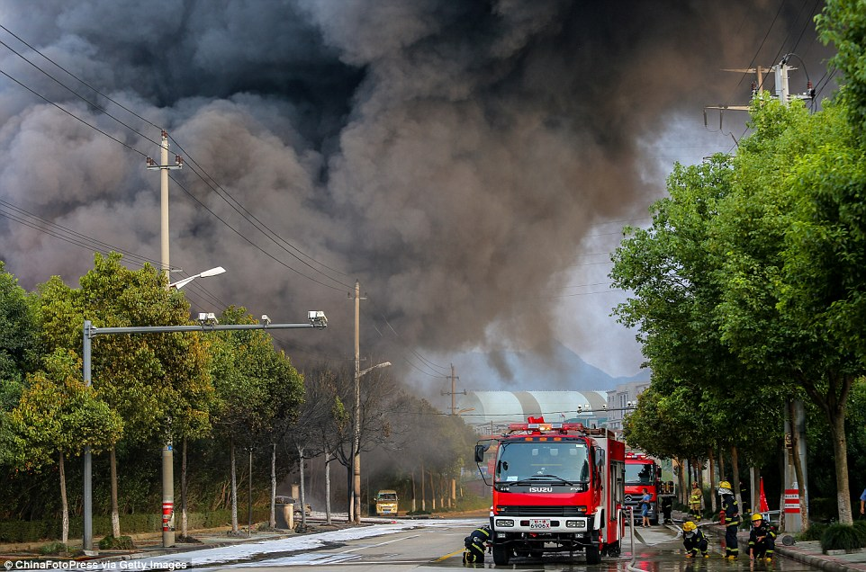 Fire trucks from several local fire departments were dispatched to Nanming Chemical Co Ltd in the city's economic development zone