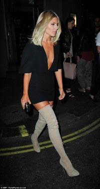 The Saturdays' Mollie King in mini dress and thigh-high ...