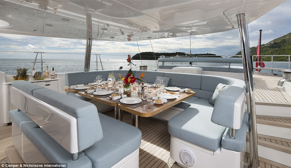 The sailing yacht has a protected and shaded cockpit area, spacious flybridge with seating for 10, and four staterooms – all en-suite