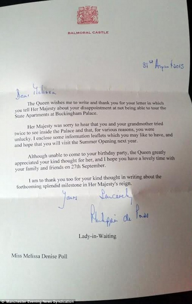 Melissa Poll Who Invited The QUEEN To Her Birthday Party Receives Letter Daily Mail Online