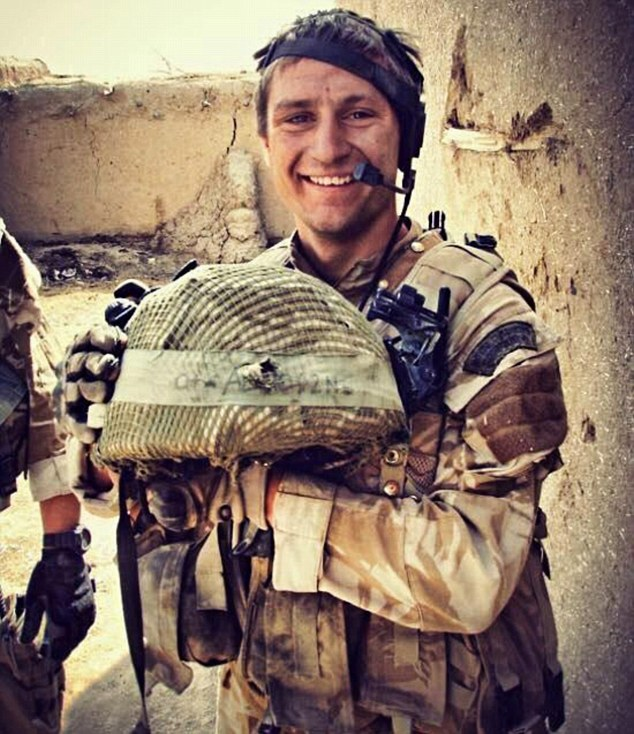 Fearless:Serena Alexander said everyone in Sgt Blackman's unit was 'dreadfully traumatised' by the tour, which claimed the life of her son Sam, 28. He is pictured with a bullet hole in his helmet having previously been shot in the head during an act of bravery which saw him awarded the Military Cross