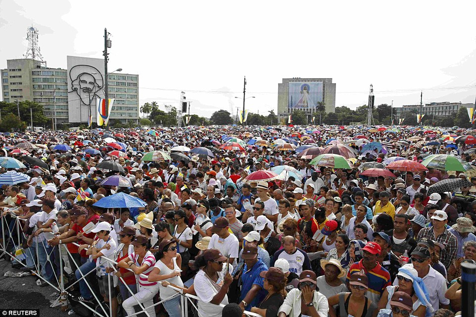 The Sunday Mass was held in Revolutionary Square which is a traditional meeting point for political rallies in the communist country