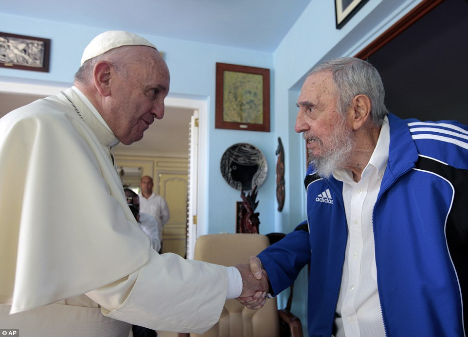 Pope Francis has met Fidel Castro moments after he appeared to take aim at Cuba's communist regime during his first Sunday Mass in the nation's Revolution Square, telling the crowd that 'service is never ideological'
