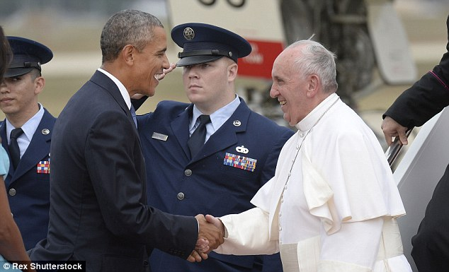 And Pope Francis and Obama had to wait to formally greet each other to give reporters enough time to exit the back of the plane and get in position
