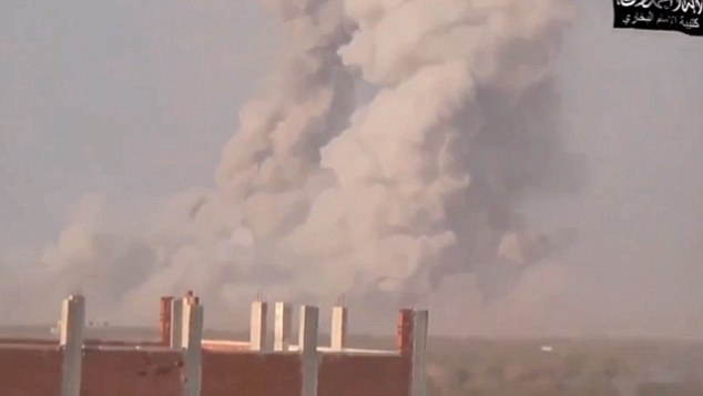 Aftermath: A huge mushroom cloud is seen rising into the air after Tayyar's suicide bomb mission