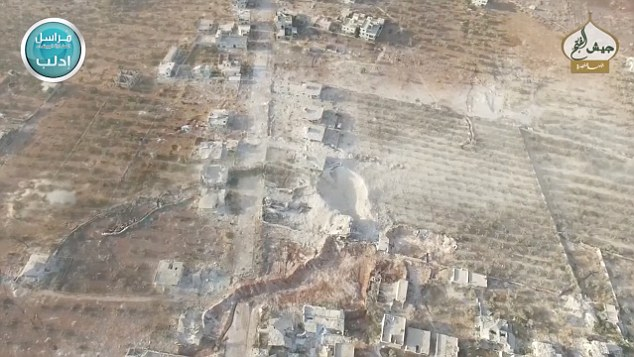 Slick: The Al Qaeda-linked Nusra Front militant group have spoken proudly of the assault on Fua and have circulated drone video footage showing the devastation caused by their fighters