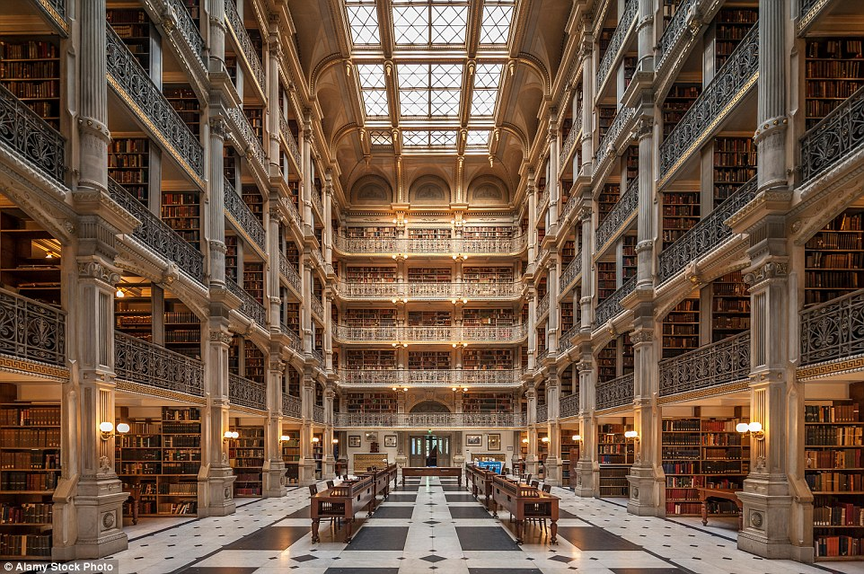 The six-floor Baltimore George Peabody Library is one of the most beautiful libraries in the world featuring 300,000 volumes largely from the 18th and 19th centuries
