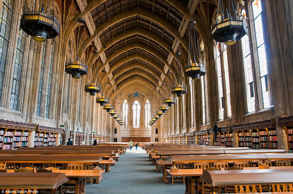 The Hogwarts-esque Reading Room in the Suzzallo Library at University of Washington consists of rows of brass-lamped, oak study tables, beneath a 65ft-high ceiling