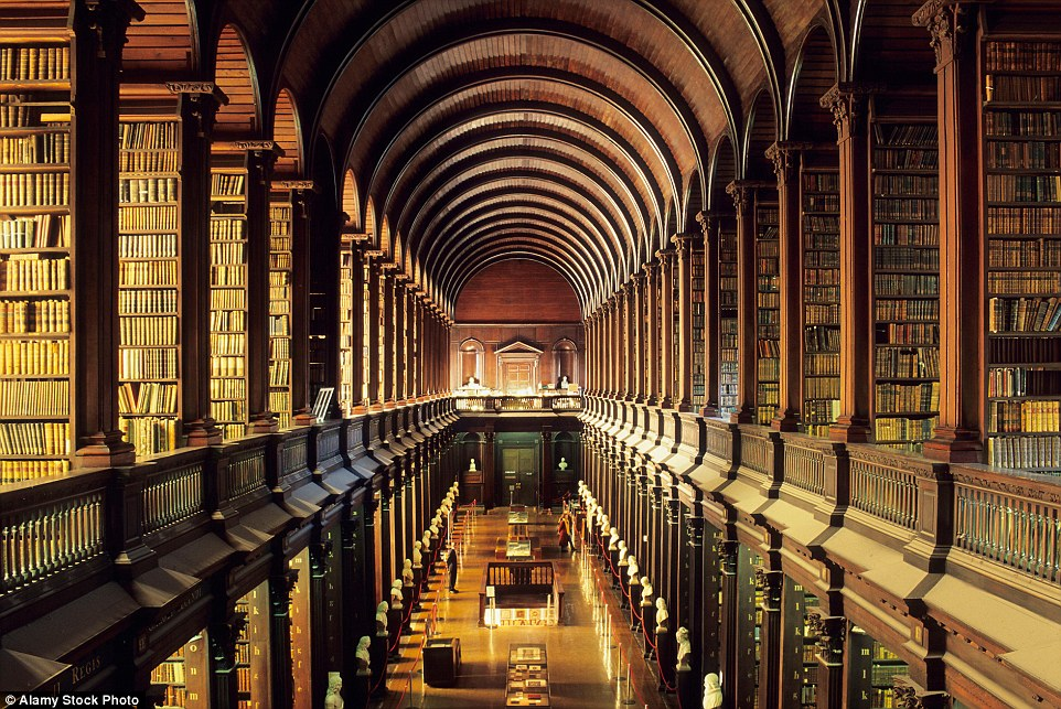 The 213ft-long main chamber of the Long Room at Trinity College Library in Dublin was built between 1712 and 1732. By the 1850s the Library had been given permission to obtain a free copy of every book that had been published in Ireland and Britain