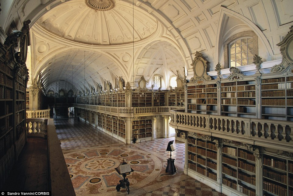 The 85ft-long Library of Convent in National Palace of Mafra houses around 36,000 volumes amassed through royal commission