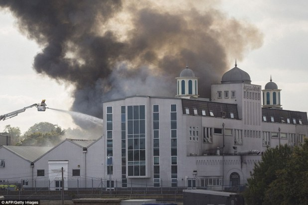 Ablaze: Pictured is theBaitul Futuh in Morden, South London, which is the largest in western Europe
