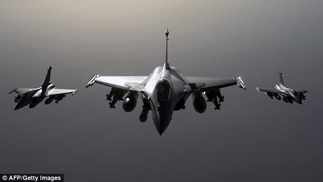 French Rafale fighter jets flying towards Syria. President Francois Hollande said  six French warplanes hit an ISIS training camp near Deir Ezzor city on Sunday and that more strikes may follow in the coming weeks