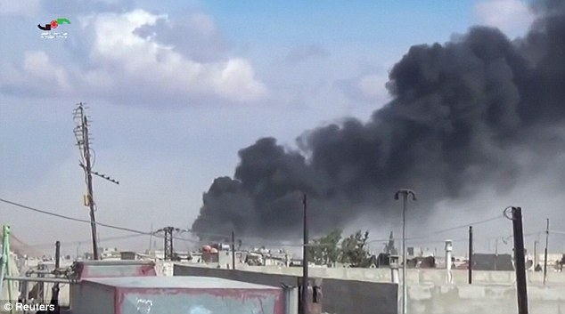Blitzed: The video claims to show the aftermath of aerial bombings in the Syrian province of Hama.A U.S. official said the Russian air strikes so far did not appear to be targeting ISIS-held territory