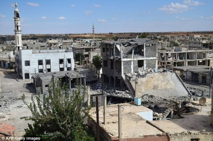 The Russian strikes had hit Rastan and Talbisseh (above), neither of which has an Islamic State presence
