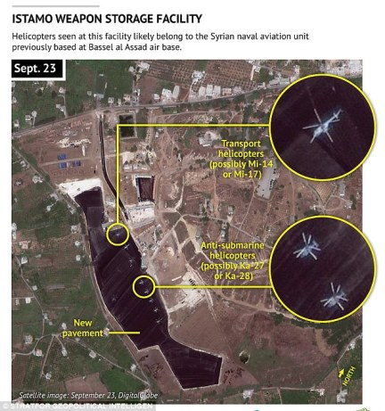 This image shows the Istamo weapons storage facility near the Syrian town of Latakia, where large concrete surfaces have been put in place or are under construction and the assembly of a potential fuel depot is underway, according to Stratfor, a geopolitical intelligence and advisory firm in Austin, Texas