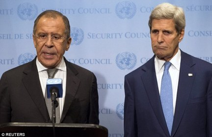 Divisions: After sharp public comments in Washington and the United Nations, U.S. Secretary of State John Kerry and his Russian opposite number Sergei Lavrov try to put a brave face on the dispute