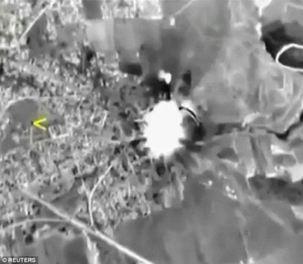 A grab taken from video released by the Russian Defence Ministry October shows Russian jets hitting a target in Syria, which the Kremlin says includes a list of well-known militant organisations and not only ISIS