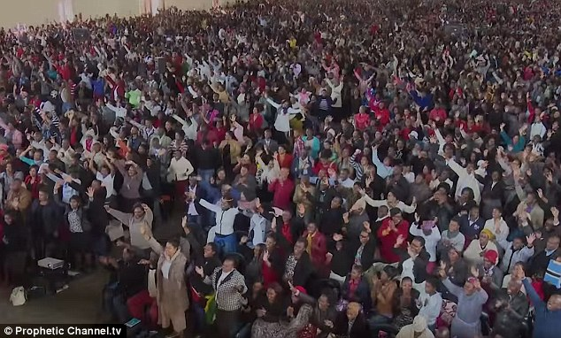 Massive following: Thousands of people gather to watch Bushiri's congregations, where he claims to perform miracles