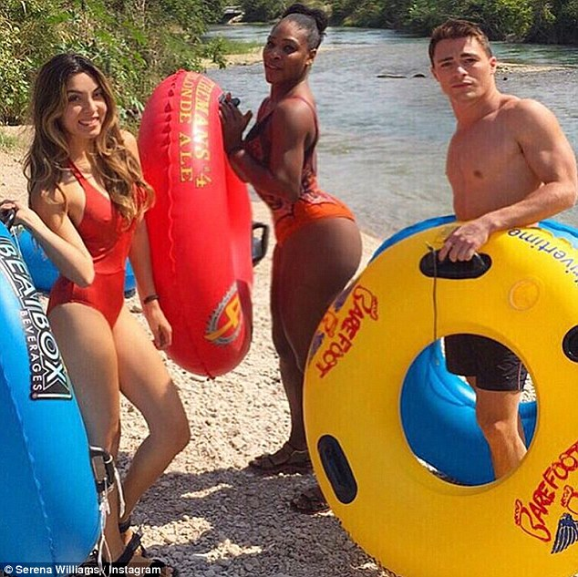 Time off: Tennis champion Serena Williams enjoyed some down time in Texas with Arrow star Colton Haynes in this Instagram photo she shared on Sunday