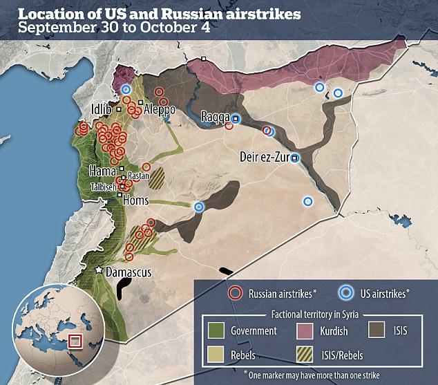 'Indiscriminado': Rusia ha sido acusado de bombardear zonas rebeldes en lugar de luchadores ISIS desde que comenzó los ataques aéreos en Miércoles, 30 de septiembre