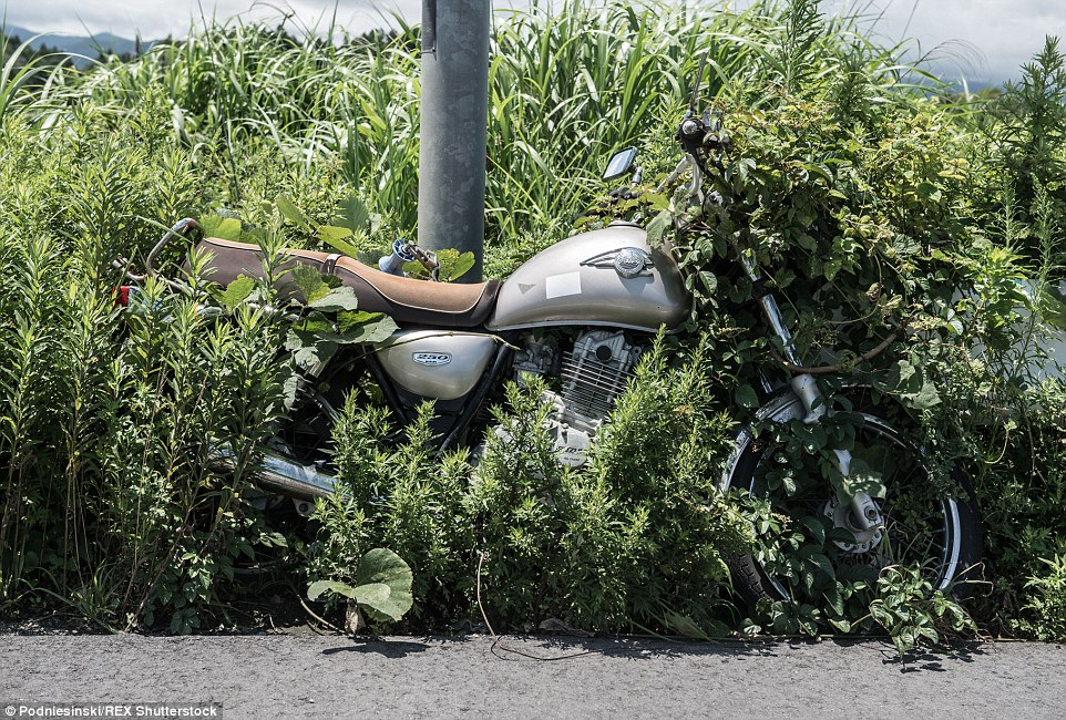 A motorbike sits chained to a pole where it was left locked in the hours before the tsunami struck the region, triggering a reactor meltdown