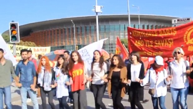 Lively last scenes: Many of the demonstrators were thought to be supporting Kurdish rights, waving banners
