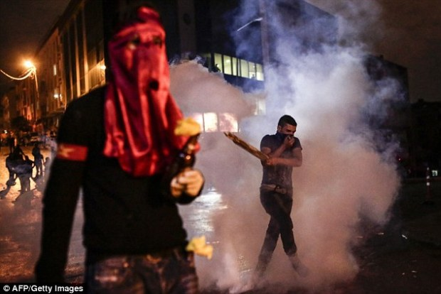 But some protesters ended up running away from tear gas during clashes with police in Istanbul