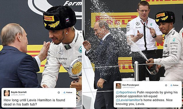 F1's Lewis Hamilton soaks Vladimir Putin with champagne at Sochi Grand Prix 2015