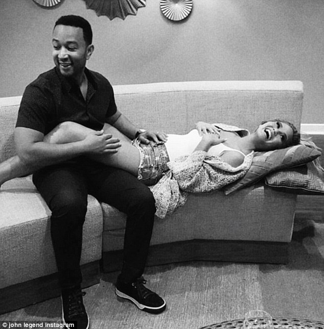 Baby on board: Chrissy Teigen took to social media late Monday to reveal the big news that she and John Legend are expecting their first child