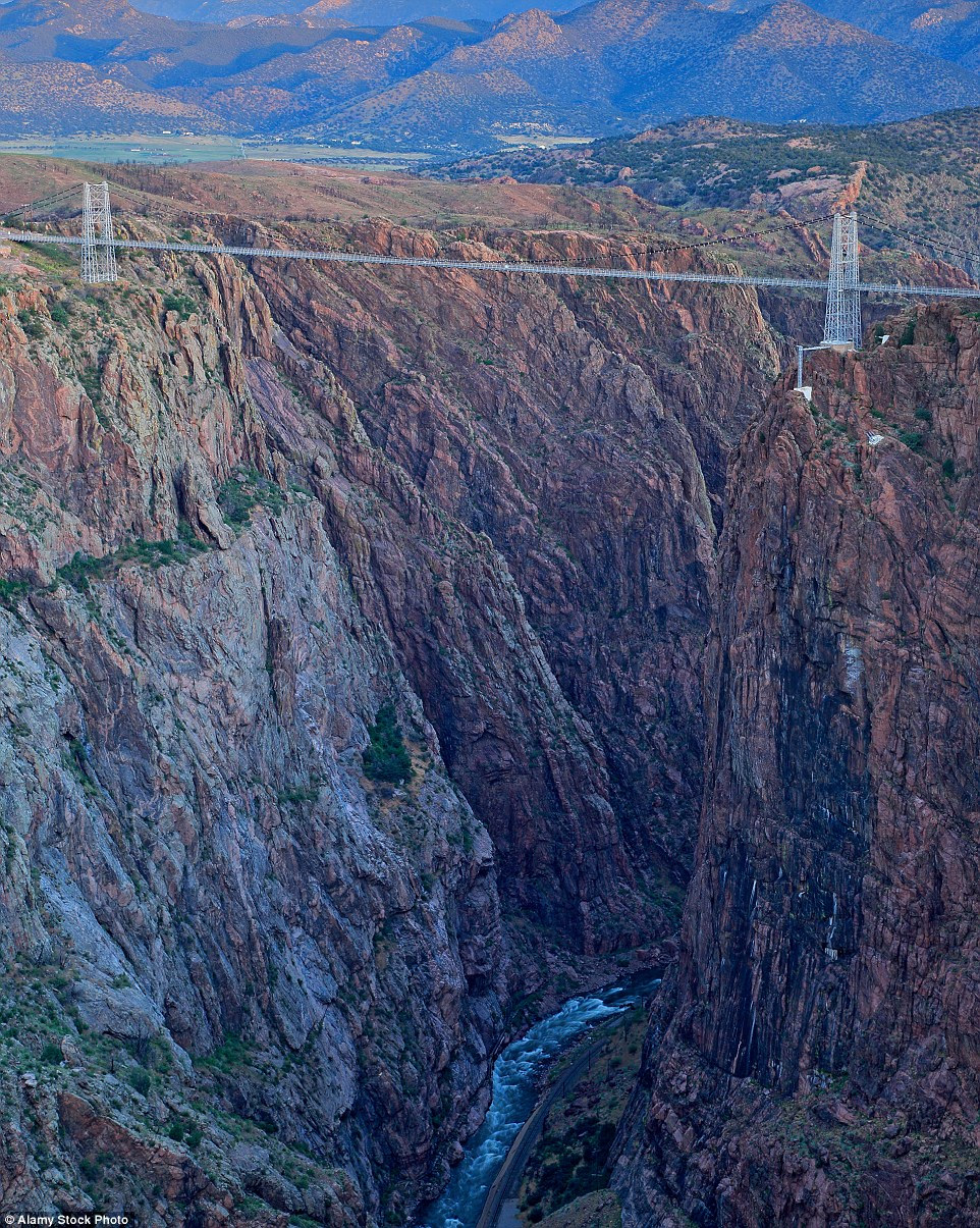 Don't look down: The Royal Gorge                              Suspension bridge in Colorado is America s                              highest suspension bridge at 1,053 feet                              above ground