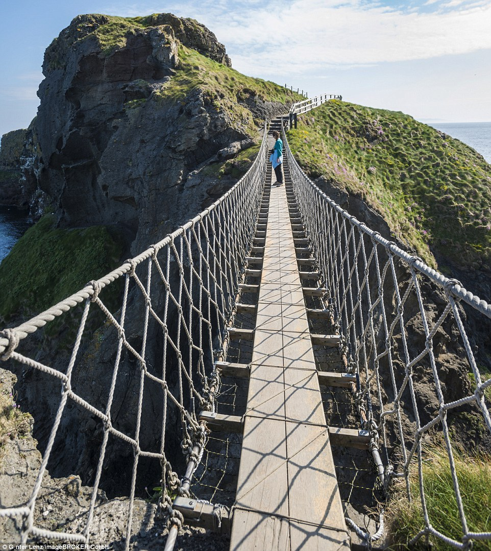 Originally the Carrick-a-Rede Rope                              Bridge in Northern Ireland only had one                              handrail. Thankfully today there are more                              robust safety features in place, but it is                              still a scary experience for