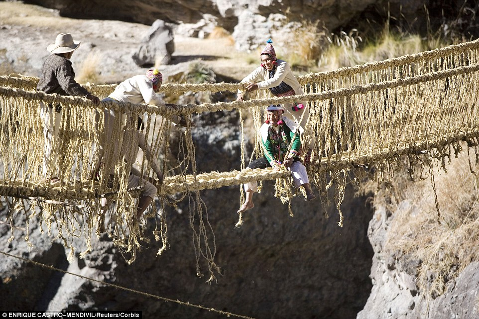 The Qeswachaka Bridge in Peru is an Inca rope bridge placed over canyons, gorges and rivers and is a handwoven bridge made out of a local grass called Qoya. Every year local villagers make the bridge, before it deteriorates through wear and tear