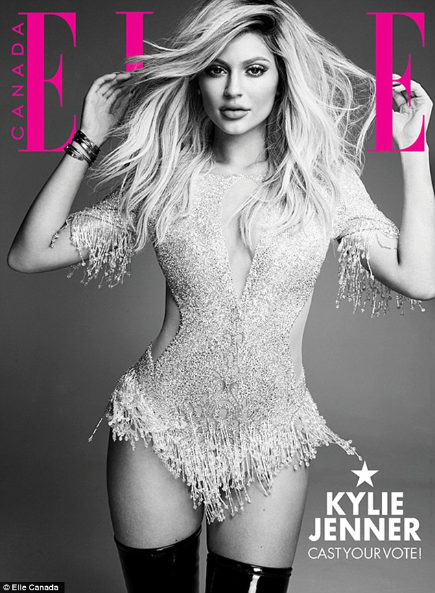 Bombshell: In one image Kylie wears a tasseled LaBourjoisie bodysuit with latex boots
